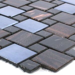 Mosaic Tiles Glass Tahiti Brown Metallic