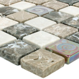 Mosaic Tiles Relief Marble Java Glass Mix Beige