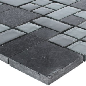 Mosaic Tiles Lauria Glass Resin Black