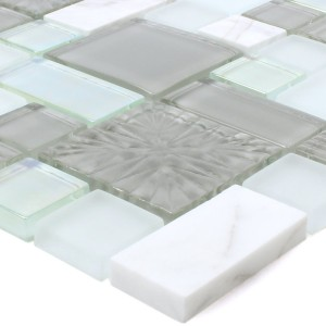 Mosaic Tiles Norderney Glass Natural Stone Mix