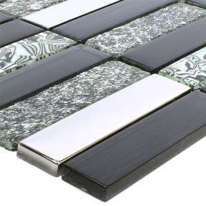 Mosaic Tiles Magia Glass Natural Stone Mix Black