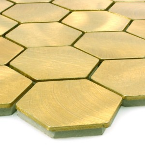 SAMPLE Mosaic Tiles Aluminum Manhatten Hexagon Gold