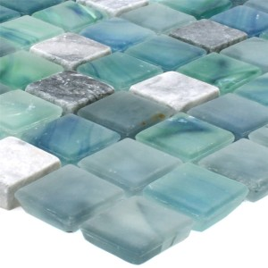 Mosaic Tiles Mayon Glass Marble Mix Lake Green