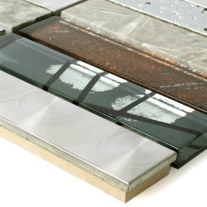 Mosaic Tiles Musical Glass Stone Steel Mix Grey