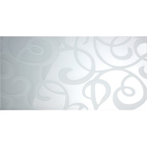 Glass Wall Tiles Istanbul White Paisley 30x60cm