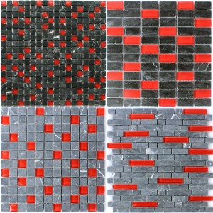 Mosaic Tiles Glass Marble Roverto Black Red