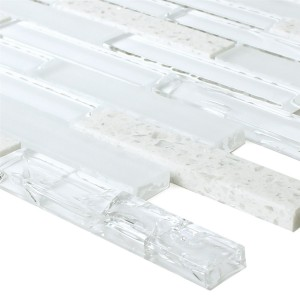 SAMPLE Mosaic Tiles Glass Natural Stone Rivoli White