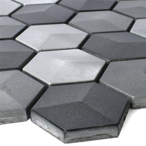 Mosaic Tiles Hexagon Kandilo Black Silver