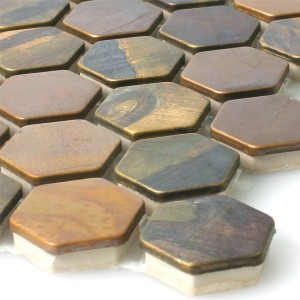 Mosaic Tiles Copper Merkur Hexagon Brown 24
