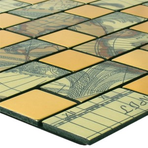 Mosaic Tiles Metal Self Adhesive Pinta  Gold Rectangle