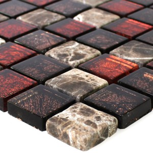 SAMPLE Mosaic Tiles Natural Stone Glass Red Brown 23x23x8mm