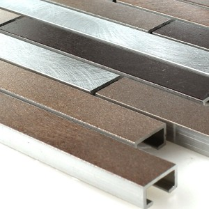 Mosaic Tiles Alu Metal Copper Brown Mix