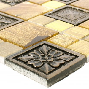Mosaic Tiles Levanzo Glass Resin Ornament Mix Gold