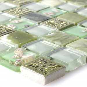 Glass Mosaic Natural Stone Tiles Tatvan Shell Green