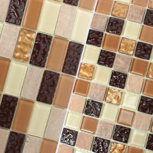 Natural Stone Glass Mosaic Tiles Karaman Self Adhesive Beige Brown