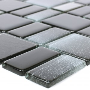 Glass Mosaic Tiles Peacock Black Glitzy