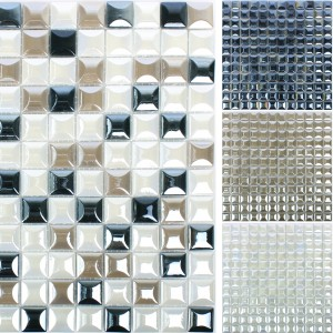 Glass Mosaic Tiles Monrovia 3D Metallic