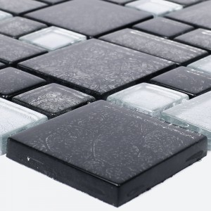 Glass Mosaic Tiles Curlew Black Silver 2 Mix