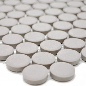 Ceramic Mosaic Tiles Button Radoslov Unglazed Light Grey