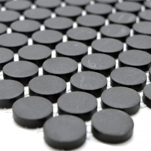 Ceramic Mosaic Tiles Button Radoslov Unglazed Black