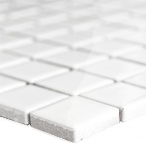 Ceramic Mosaic Tiles Adrian White Glossy Square 23
