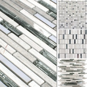 Glass Stone Steel Mosaic Tiles Elektra Grey