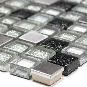 Glass Stainless Steel Metal Mosaic Tiles Silver Black