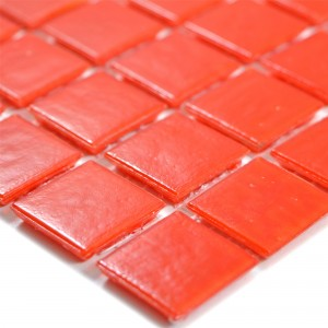 Glass Mosaic Tiles Red Uni 20x20x4mm
