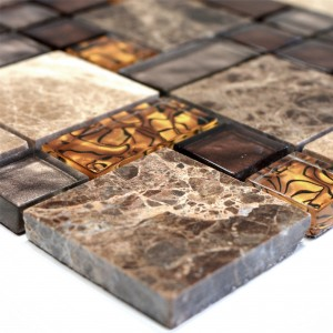 Glass Mosaic Natural Stone Tiles Lambada Brown Beige 3 Mix