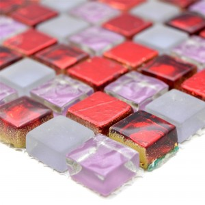 Glass Mosaic Natural Stone Tiles Cleopatra Pink Red White