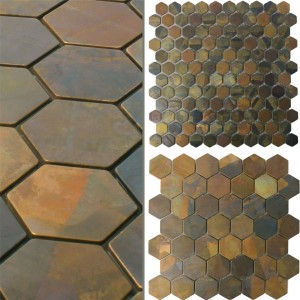 Mosaic Tiles Copper Merkur Hexagon Brown