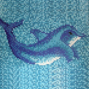 Swimming Pool Mosaic Delphin Pasted on Paper