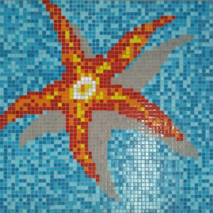 Swimming Pool Mosaic Seestar Pasted on Paper