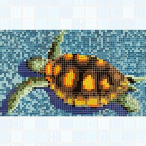 Swimming Pool Mosaic Turtle Pasted on Paper