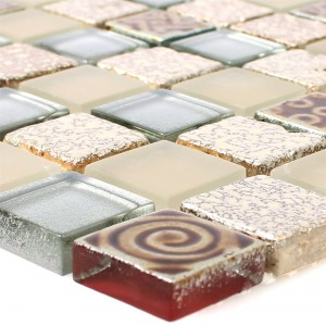 Glass Mosaic Natural Stone Tiles Kobold Beige Silver