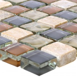 Glass Mosaic Natural Stone Tiles Festus Brown Beige Grey