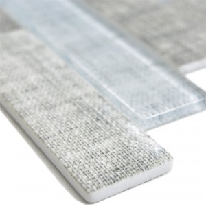 Glass Mosaic Tiles Lyonel Textile Optic Brick Grey