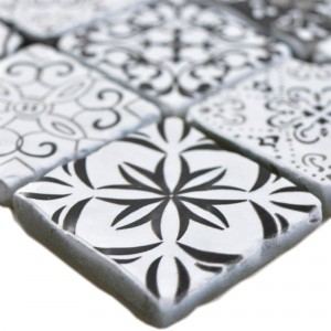 Glass Mosaic Tiles Starlite Retro Black White 48