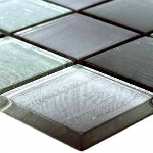 Glass Mosaic Tiles Bellevue Black Silver