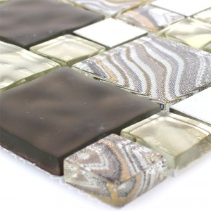 Glas Metall Stainless Steel Mosaic Tiles Zadar Beige Brown