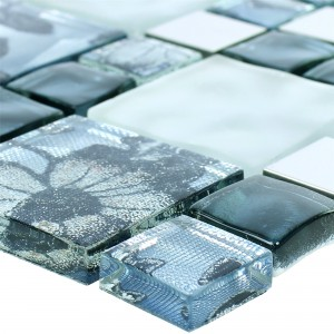 Glas Metall Stainless Steel Mosaic Tiles Zadar Grey Blue
