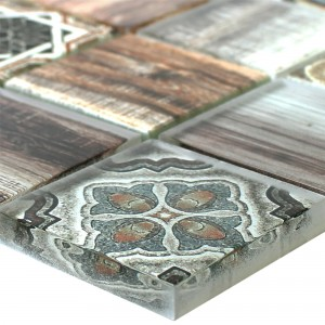 Glass Mosaic Tiles Wood Optic Makarska Brown