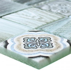 Glass Mosaic Tiles Wood Optic Makarska Light Blue