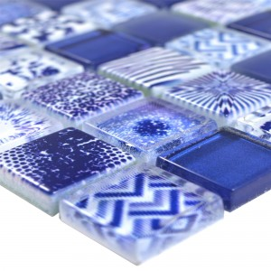 Glass Mosaic Tiles Cornelia Retro Optic Blue
