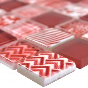 Glass Mosaic Tiles Cornelia Retro Optic Red