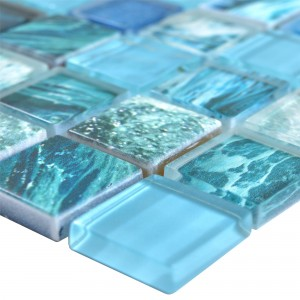 Glass Mosaic Tiles Cornelia Retro Optic Green Blue