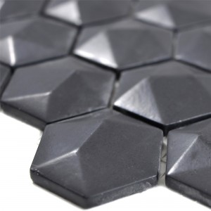 Glass Mosaic Tiles Benevento Hexagon 3D Black