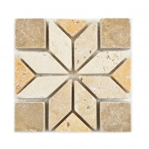 Natural Stone Rosone Drexel Brown Beige Gold 10x10cm