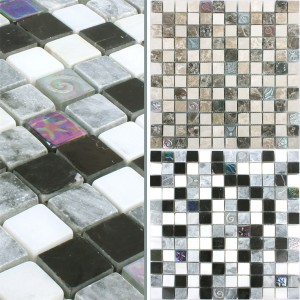 Mosaic Tiles Relief Glass Natural Stone Mix