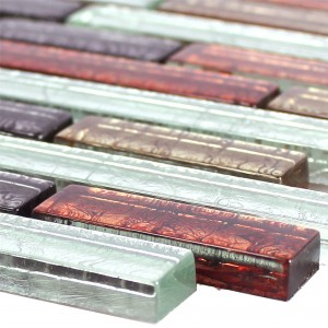 Glass Mosaic Tiles Curlew Red Brown Silver Pattern